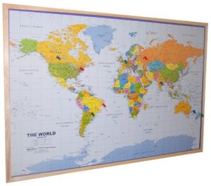 Pin Board World map by Global Mapping